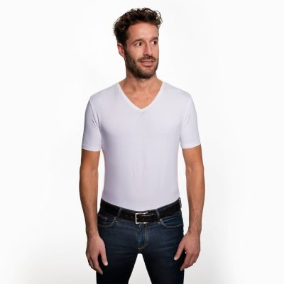 Sustainable T-shirt regular V-neck White 2-pack
