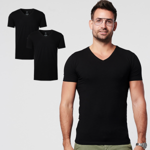 Duurzaam T-shirt Regular V-hals Zwart 2-pack