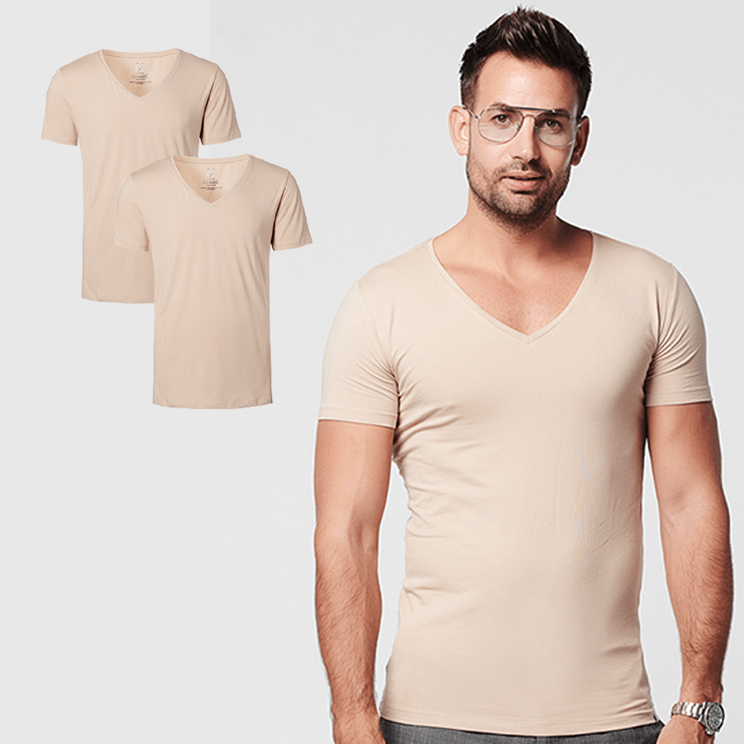 SKOT Fashion Duurzaam t-shirt heren Deep V-neck Invisible 2 pack - Taupe