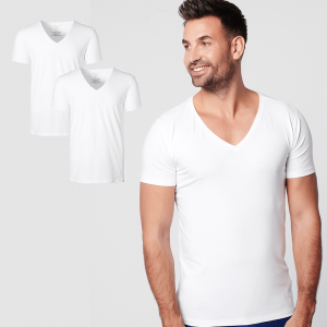 Sustainable T-shirt Deep V-neck White 2-pack