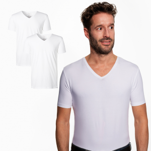 Duurzaam T-shirt Regular V-hals Wit 2-pack